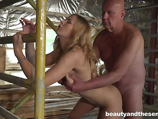 Lovely young blonde Jenny Manson is having coition with old timer