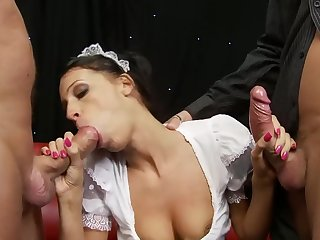 Close up video with innocent soul join in matrimony on their way knees having a 3-way