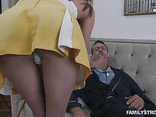 Stepdaughter helps her stepdad recuperate and her pussy has magical powers