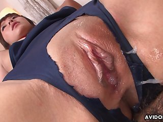 Comely Japanese babe enjoying some juicy creampie after a passionate fuck