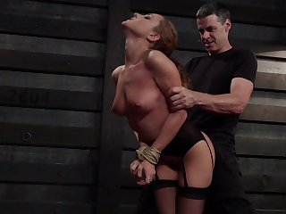 Obedient MILF receives harsh treatments of both her love holes
