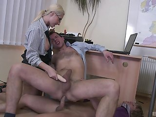 Office threesome with bisexual guys and sexy festival Daria Glower