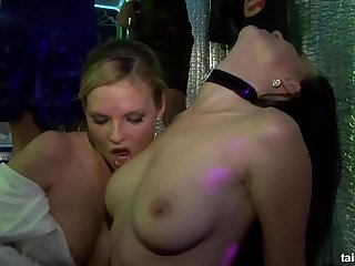 Hot babe with perfect tits goes lesbian in the club