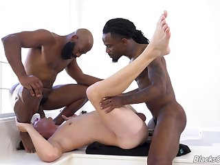 Gay male endures double BBC into his irritant and throat
