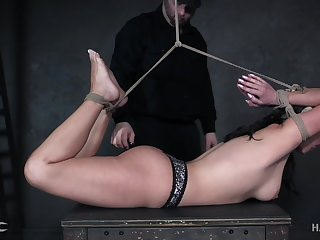 Babe is bound hogtied whipped and punished get a kick out of never before