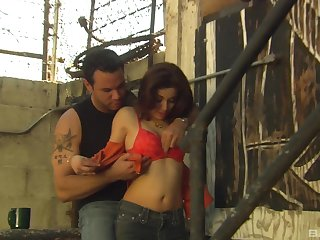 MILF babe Channel Chavez sucks and fucks outdoors on the stairs