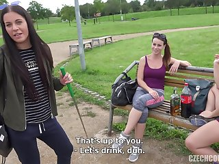 Three Drunk Girls Share Dick Nearly Public - point-of-view