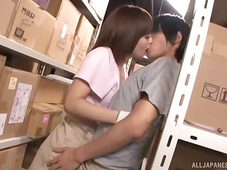 Hardcore Japanese doggy style fuck in the warehouse with Urumi Narumi