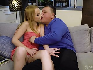 Tiny blonde Rebecca Black sucks an old guy's cock and swallows cum