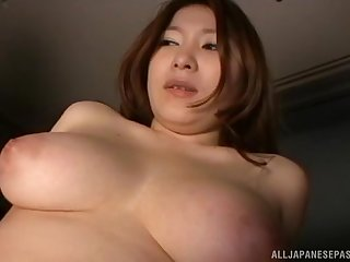 Chubby Japanese brunette abused by two guys with toys