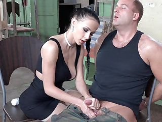Sexy brunette play with learn of of military
