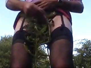 Playing on touching public woods pain and cum