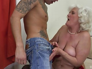 Blonde mature Judit Gali is the real master of rough fuck encircling a gay blade