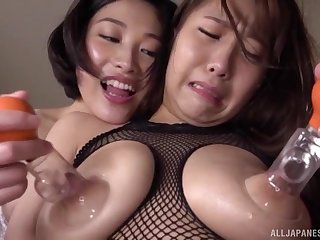 Busty and nasty Sunohara Miki likes to decree all tribadic sex hilarity