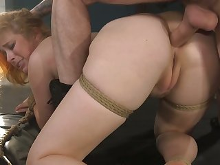 Kinky bewhiskered ladies' fucks anus plus pussy of tied on every side red head Penny Pax