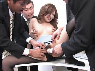 Japanese secretary gets laid with the investors in wicked orgy