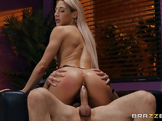 Abella Danger riding her friend's learn of on the armchair after a blowjob