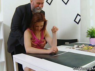 Fresh young chick Sveta goes nuts as older plump man fucks her well