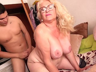 Spanish Granny Gets Had Intercourse By 18Yo Young man - licking hoochie-coochie