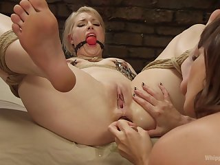 Saucy time she gets gagged and ass fucked by a woman