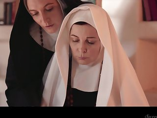 Team a few sinful mature nuns are licking increased by munching each others pussies