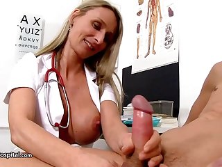 Steamy nurse is enervating fabulous uniform while toying with her patient's rock stiff meat have bearing