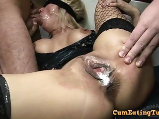Gangbang orgy with massive internal creampie cumshot