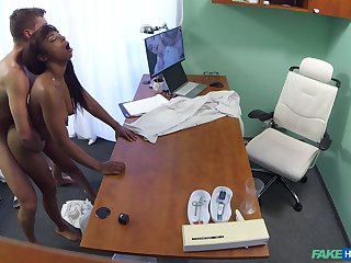 Naked perfidious filmed in tight dense during enduring sex with her physician