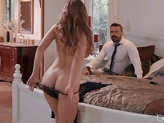 Wife Lena Paul dresses up in off colour lingerie on every side hate fucked by the brush defy