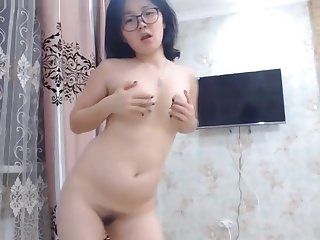 Cute Asian Nerdy Teen Dancing Naked