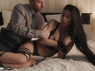 Sultry and enchanting Asian spoil gets fucked off out of one's mind a certain older than her
