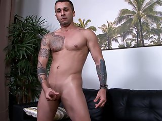 Buzzcut military stud solo jerking his public house