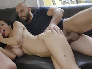 During a MFM threesome, Priscilla Salerno enjoys some pile-driving sex